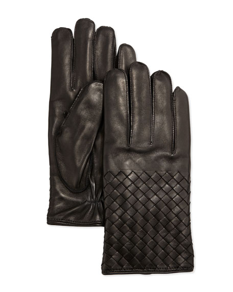 Bottega Veneta Men's Woven Leather Gloves, Black