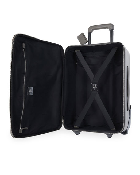 Monster Eyes Canvas & Leather Trolley Suitcase, Black