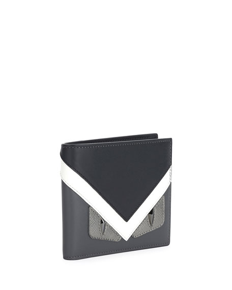 Monster Eyes Leather Bi-Fold Wallet, Graphite