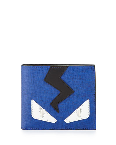 Monster Leather Wallet, Blue/Black