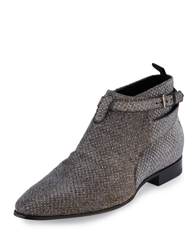 London 20 Jodhpur Cropped Boot, Silver/Gold
