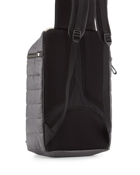 Quilted Nylon Backpack w/Shearling Trim, Black/Ivory