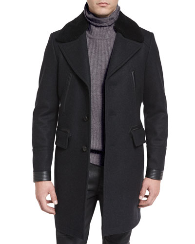 Shearling-Collar Melange Overcoat