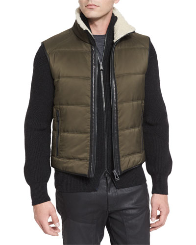 Fyfield Quilted Shearling-Trim Vest