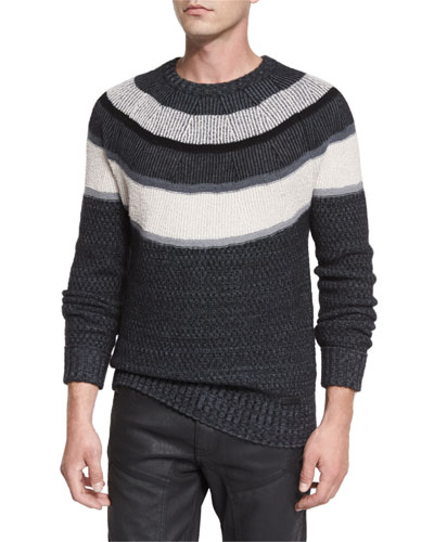 Orwell Striped Sweater, Charcoal