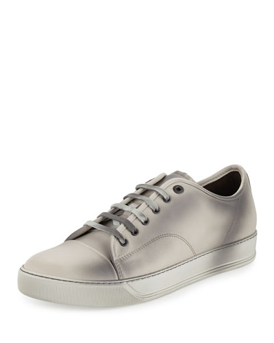 Leather Low-Top Sneaker, Ivory/Gray