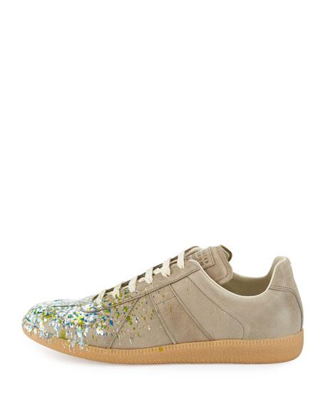 Replica Paint-Splatter Low-Top Sneaker, Khaki