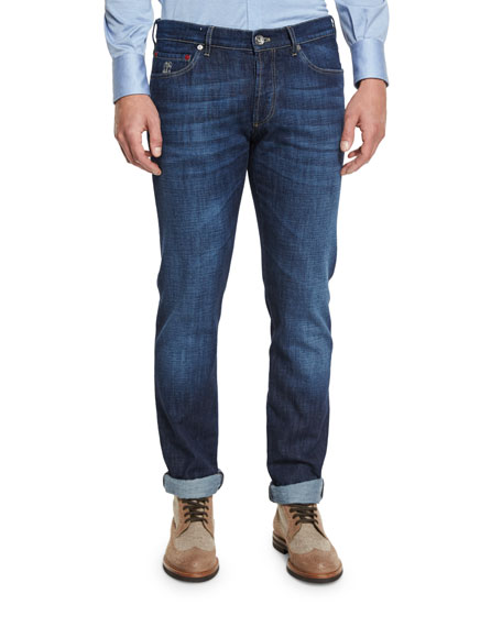 Slim-Fit Denim Jeans, Dark Blue