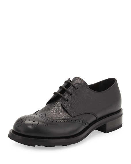 Spazzolato Wing-Tip Leather Lace-Up, Black