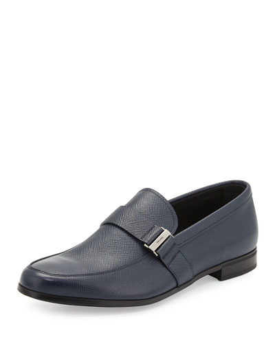 Saffiano Leather Side-Buckle Loafer, Blue