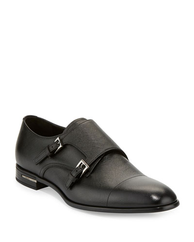 Saffiano Leather Double-Monk Shoe  Black