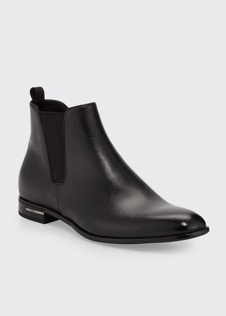 Saffiano Leather Chelsea Boot, Black