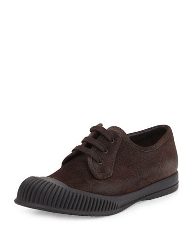Mud-Guard Suede Low-Top Sneaker, Brown