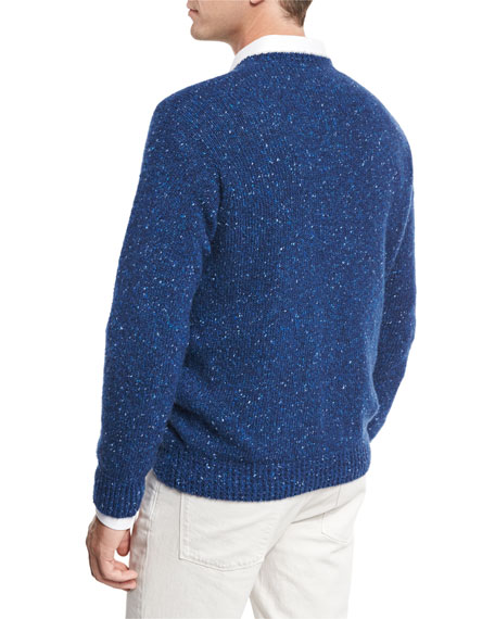 Girocollo Cashmere Tweed Cable Sweater, Blue Depths