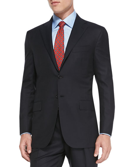 Kiton Solid Two-Piece Suit, Navy