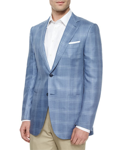 Cashmere/Silk Plaid Jacket, Slate/Blue