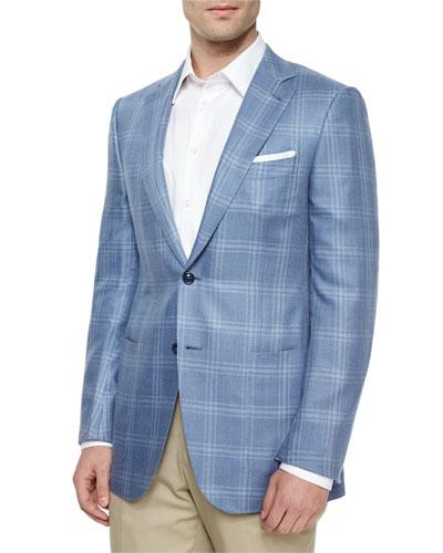 Cashmere/Silk Plaid Jacket, Slate/Blue