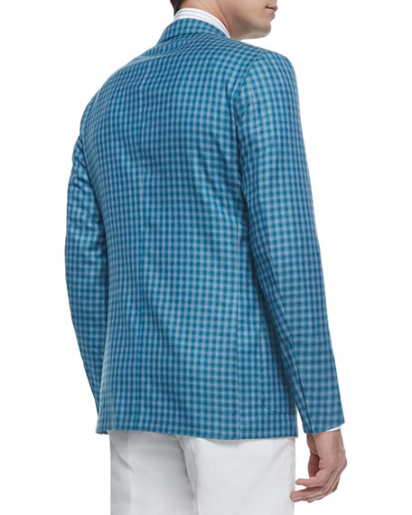 06d47f07 Check Wool-Silk Two-Button Jacket Blue