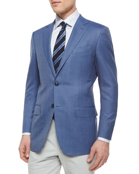 Micro-Check Wool Blazer, Blue