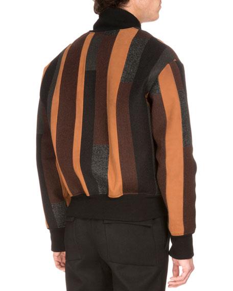 Striped Wool-Blend Bomber Jacket, Brown