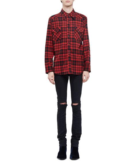 Slashed-Knee Skinny-Fit Stretch-Denim Jeans, Black