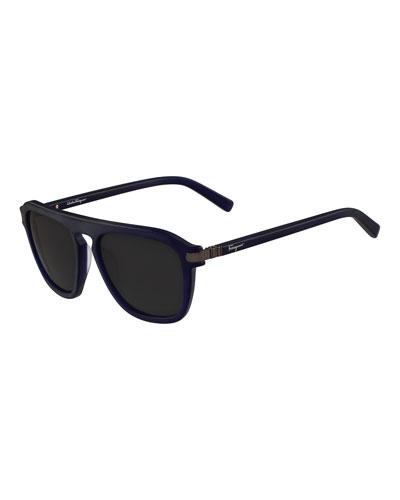 Gancini Bridge Plastic Square Sunglasses, Blue Matte