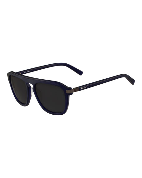 Gancini Bridge Plastic Square Sunglasses, Blue Matte