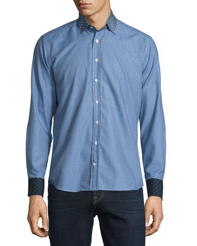 Micro-Print Long-Sleeve Sport Shirt w/Contrast Details, Blue