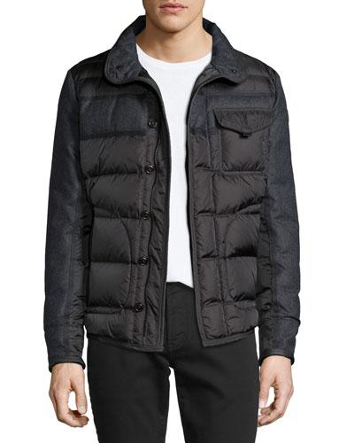Blais Mixed-Media Puffer Jacket, Charcoal