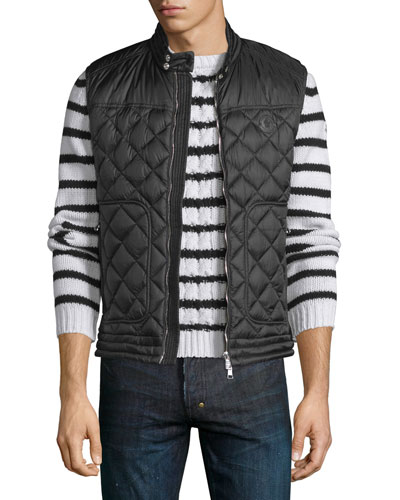 Rod Quilted Nylon Moto Vest, Black