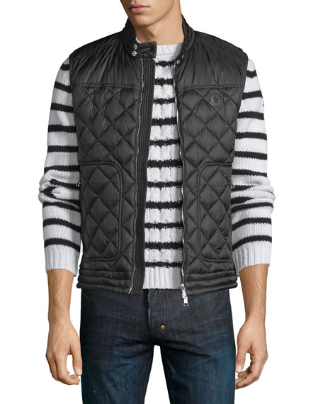 Rod Quilted Nylon Moto Vest, Black