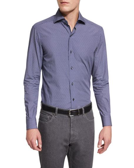 Geo-Print Long-Sleeve Sport Shirt, Navy