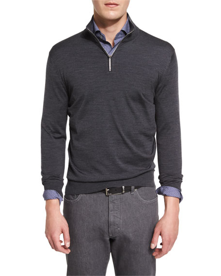 1/4-Zip High-Performance Merino Wool Sweater, Charcoal