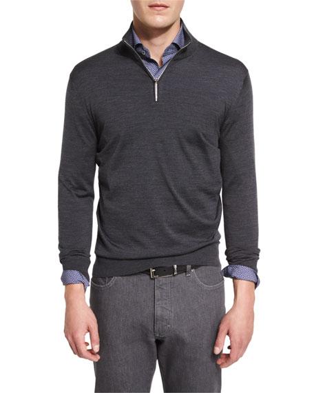 1/4-Zip High-Performance Merino Wool Sweater, Charcoal
