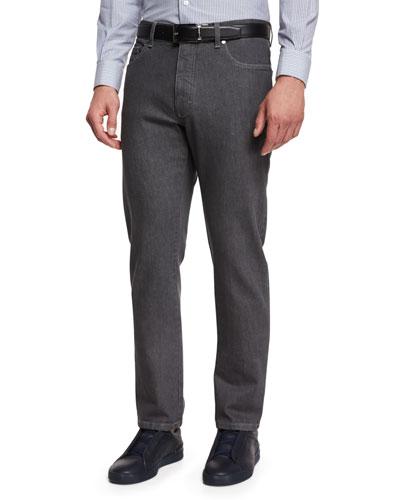 Five-Pocket Regular-Fit Stretch-Denim Jeans, Gray