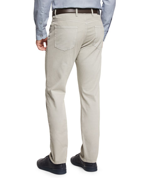 Five-Pocket Stretch-Cotton Pants, Taupe