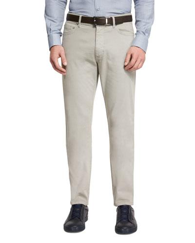 Five-Pocket Stretch-Cotton Pants, Taupe
