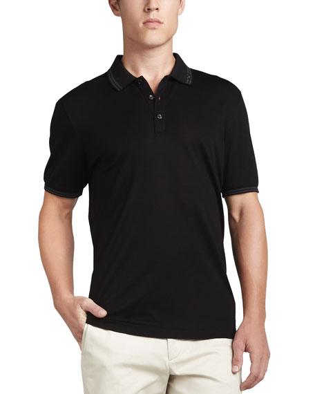 Three-Button Polo, Black