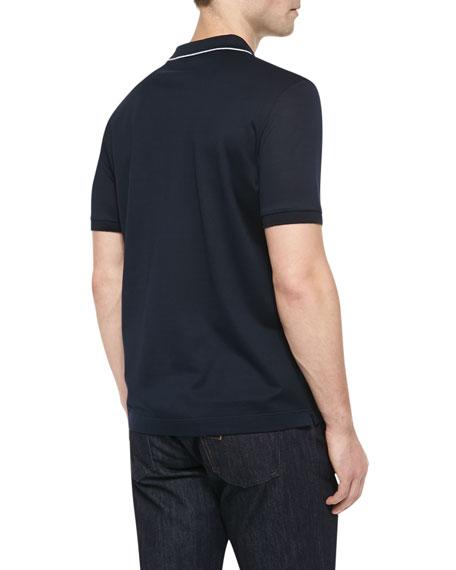 Tipped Pocket Polo, Navy