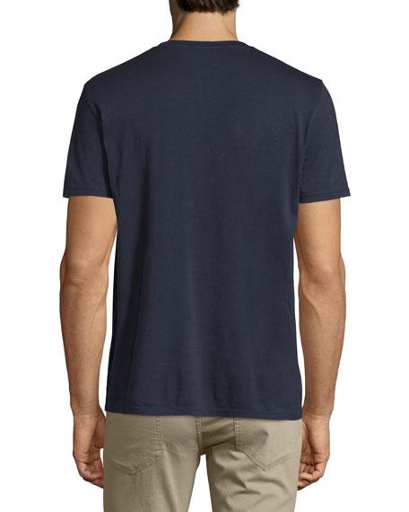 Short-Sleeve Pima Crewneck Jersey T-Shirt, Navy