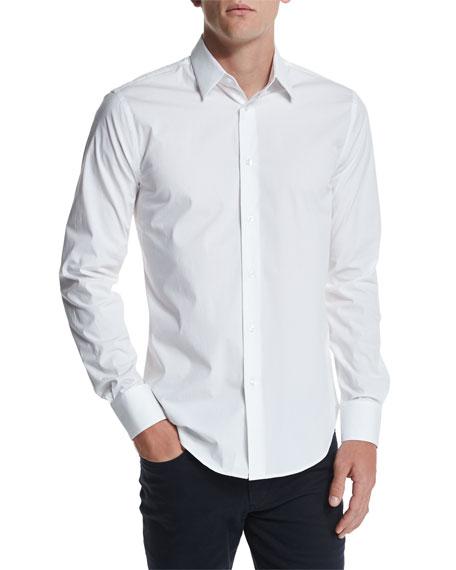 Vince Long-Sleeve Stretch Poplin Shirt, White