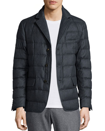 Rodin Quilted Button-Down Jacket, Dark Gray