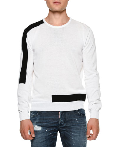 Contrast-Banded Crewneck Sweater, White