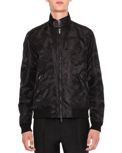 Tonal Camo-Print Bomber Jacket, Black