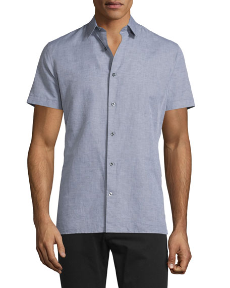 Vince Linen-Blend Short-Sleeve Shirt, Smoke