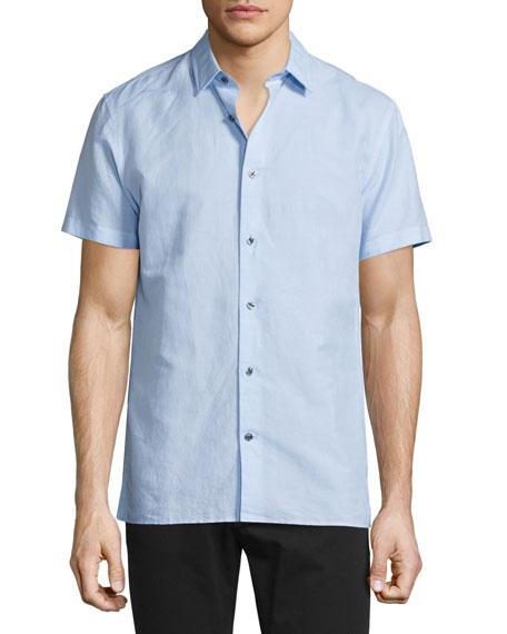Vince Linen-Blend Short-Sleeve Shirt, Sky Blue