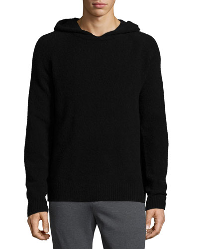 Cozy Hooded Long-Sleeve Pullover Sweatshirt, Black