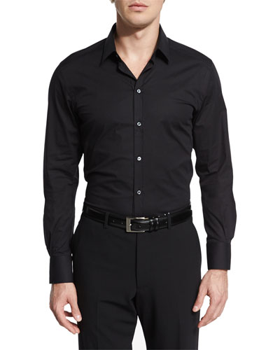 Basic Long-Sleeve Sport Shirt, Black