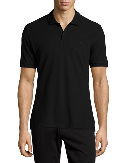 Alexander Mcqueen Pique Skull Logo Polo Shirt Black