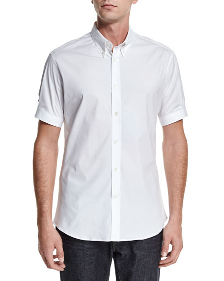 Short-Sleeve Button-Down Shirt, White